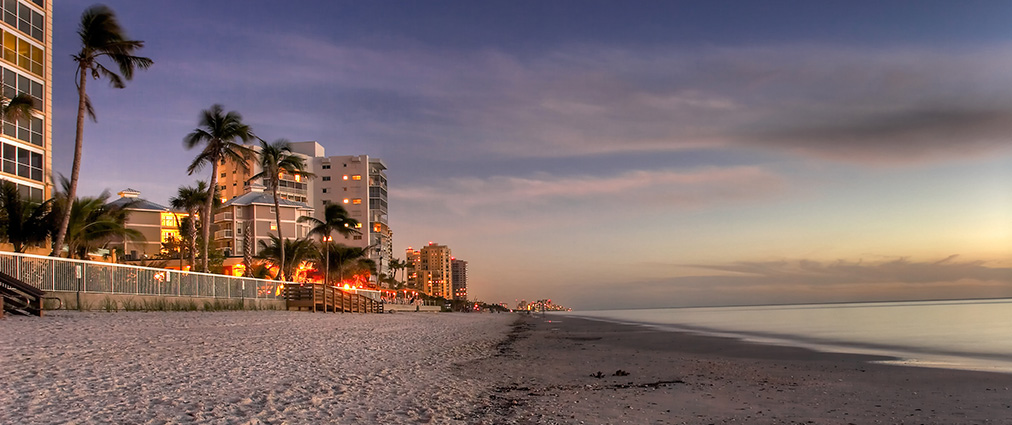 Clearwater Beach Condos at dusk